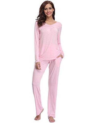 Aibrou Womens Pajama Set Cotton Soft Sleepwear Long Sleeve Loungewear Sleep Set