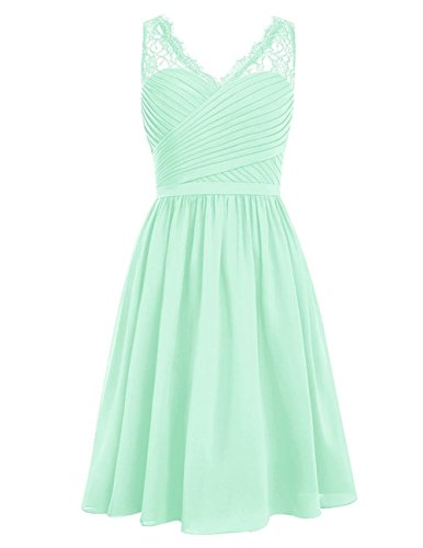 resses Short Cocktail Gowns Lace V-Neck Homecoming Dress Mint US 6 ()