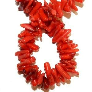 Steven_store CRL121 Red Bamboo Coral Medium 10mm - 15mm Cupolini Freeform Branch Bead Strand Making Beading Beaded Necklaces Yoga Bracelets