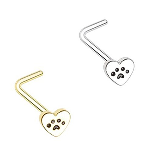 2-Pack Set Puppy Paw Steel Nose Rings 20G Bone or L-Shaped (L-Shaped)