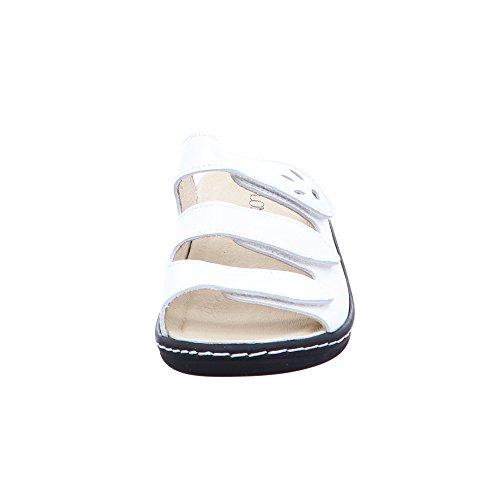 LONGO Damen 1006393 Weiße Glattleder Pantolette Weiß