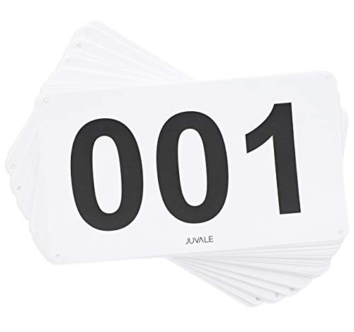 Juvale 100-Count Racing Number Marathon Race Bibs, Running Numbers 001-100, 4 x 7 Inches ()