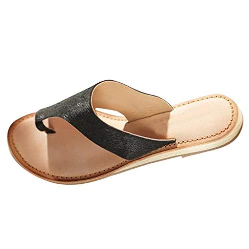 Women Flip Flops Flat Summer Basic Sandals Thongs Toe Ring Joan Flat Beach Sandals and Slippers Wedges Black