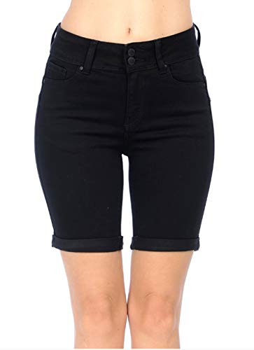 (Wax Jeans Women's Juniors High Rise Push-Up 2 Button Bermuda Denim True Stretch Shorts (Black, Large))