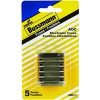 Glass 3a Fuse Agc (Bussmann HEF-1 Mobile Phone, Electronic Equipment and Stereos Fuse Assortment: 2 Ea. AGC-1, 1 Ea. AGC-2 and 2 Ea. AGC-3, 5-Pack)