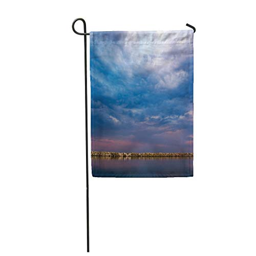 Semtomn Garden Flag 12x18 Inches Print On Two Side Polyester Beautiful Long Exposure Landscape at Sunset Calm Sea Rocky Barrier Near Horizon Home Yard Farm Fade Resistant Outdoor House Decor Flag -