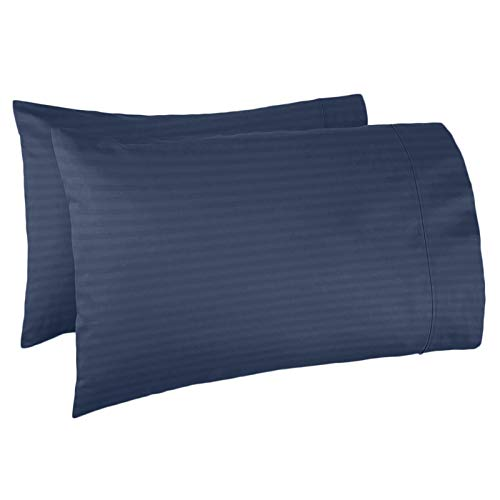 Nestl Bedding Soft Pillow Case Set of 2 - Double Brushed Microfiber Hypoallergenic Pillow Covers - 1800 Series Damask Dobby Stripe Pillow Cases, Standard/Queen - Navy - Navy Damask Stripe