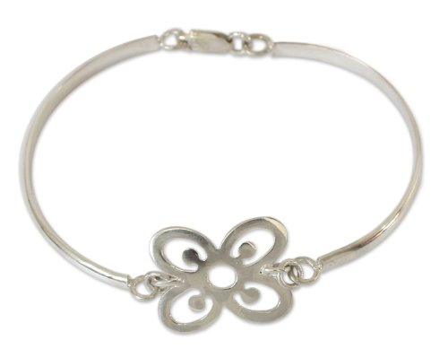 NOVICA .925 Sterling Silver Bangle Bracelet, 7.5'' 'Abundance' by NOVICA