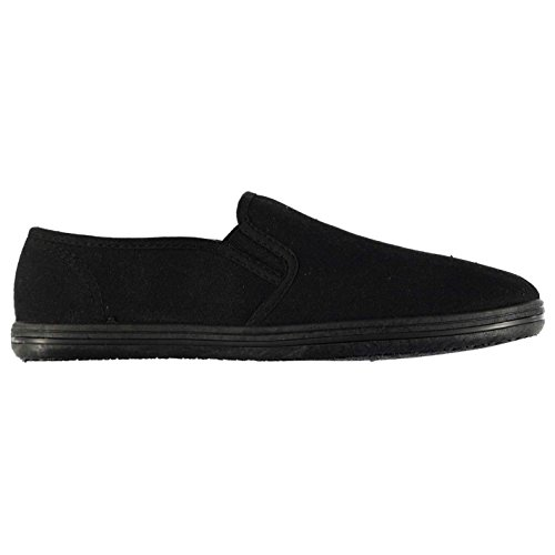 Slazenger Niños Zapatos Ligeros Casuales de Lienzo Slip On Negro/Negro