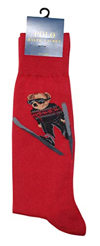 Polo Ralph Lauren Men's Ski Jumper Bear Solid Casual Dress Sock, Red