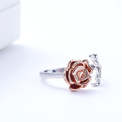 Rose Ring for Woman Flower Leaf Ring Adjustable by Meow Star (Image #3)