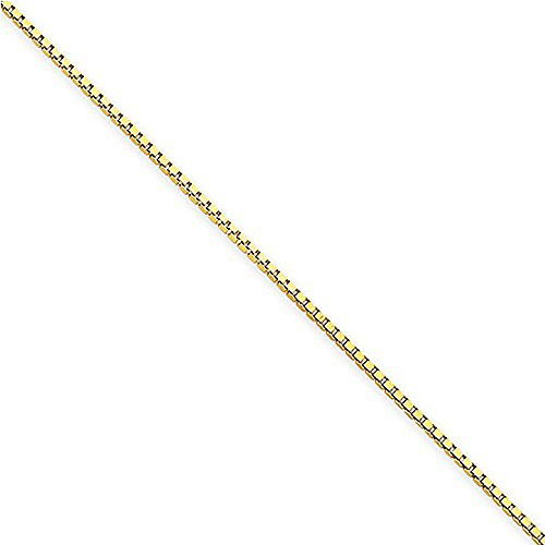 """1mm Solid 14K Yellow Gold High Polish Classic Box Link Chain Necklace - 22"""" inches"""