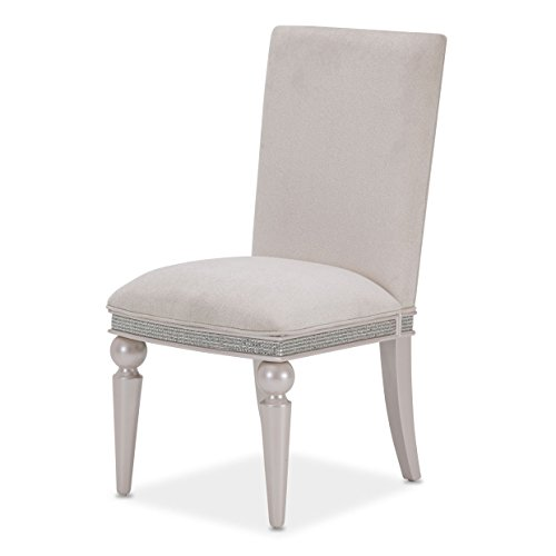 Dining Room Aico Furniture - Michael Amini- Aico Furniture Glimmering Heights Side Chair in Ivory (Set of 2)
