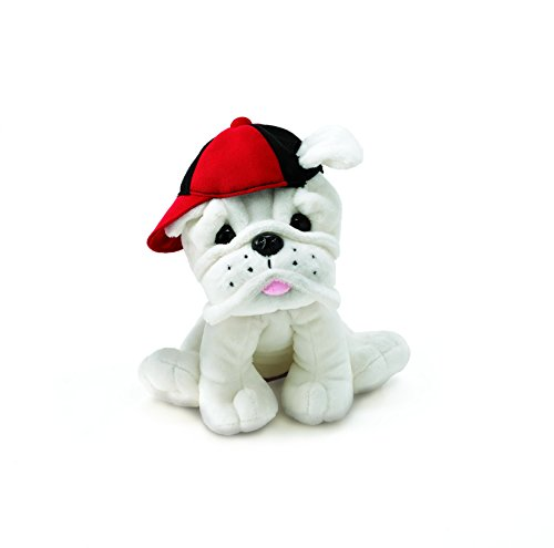 Burton & Burton Plush Eugene - White Bulldog with Baseball Cap -