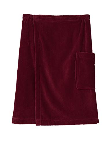 TowelSelections Men's Wrap, Shower & Bath, Terry Velour Towel Small/Medium Deep Claret
