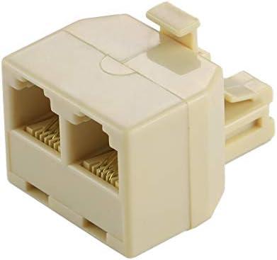 GFHPCASE RJ11 Dual Ports Desktop Telefoon Extension Cable Extender Connector Adapter
