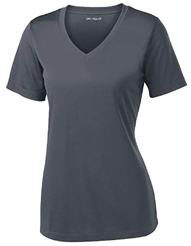 Women's Athletic All Sport V-Neck Tee Shirt in 12 Colors,Small,Iron Grey - Iron Grey Color
