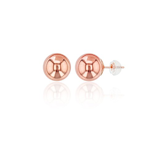14K Gold Rose 8.00MM Ball Stud Earring & 14K Silicone Back