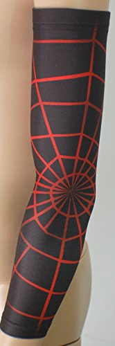 Nexxgen Sports Apparel Compression Arm Sleeve (Single)- 40 Styles and Colors- Men, Women, Youth - Basketball Shooter, Football, Baseball, Lymphedema, Tattoo (X-Large, Red Spiderweb)