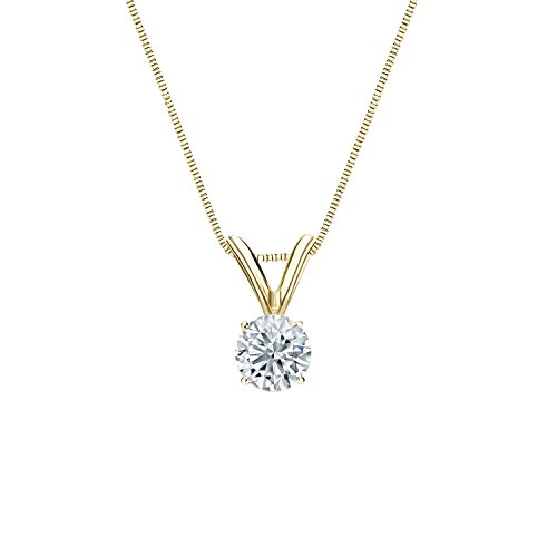 Diamond Wish 14k Yellow Gold Round Solitaire Diamond Pendant Necklace (1/4cttw, G-H, SI1-SI2) 4-Prong Basket, 18-inch Box Chain