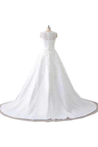 Milano Bride Elfenbein Romantisch Spitze Hochzeitskleider Brautkleider Brautmode Prinzess A-linie Rock mit Lang Schleppe