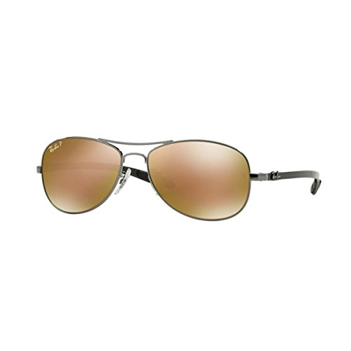 BROWN MIRROR 56mm GUNMETAL Ray SHINY Polarized Lenses RB8301 Ban GOLD POLAR Frame SqnqHUFA