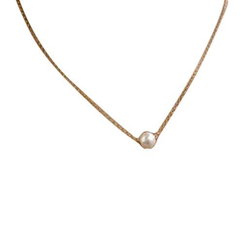 Muranba Women Fashion Simple Pearl Clavicle Chain Necklace (Silver)