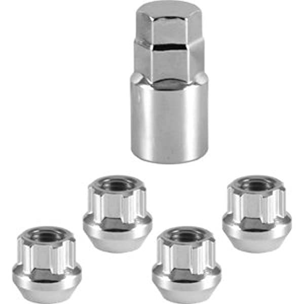 Acorn for Conical Seat for Aftermarket Custom Tuner Wheel WHEEL CONNECT Spline Lug Nuts,14x2.0 Set of 24 with 1 Key and 1 Storage Bag Black Finish.M14 X 2.0. Steel
