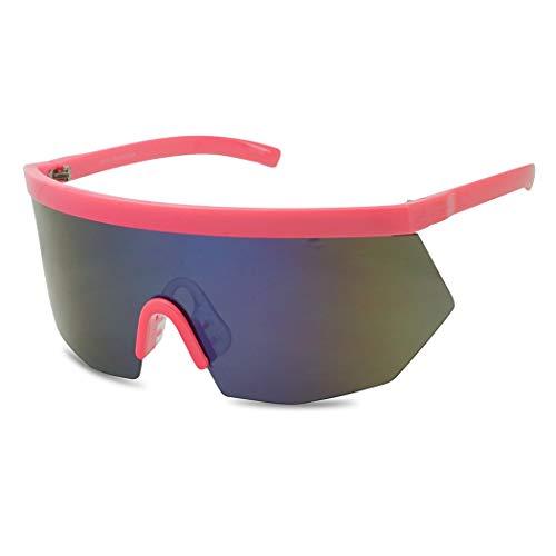 Super Oversize Flat Top Geometric Single Shield Neon Visor Sunglasses Mirror Lens (Neon Pink | Blue - Viper Single