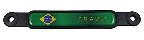 (Brazil Brazilian flag Screw On License plate Emblem Car Decal badge)