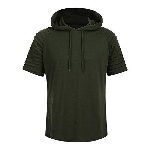 Men Summer Clothes,Fashion Men's Pleats Slim Fit Raglan Short Sleeve Hoodie Top Blouse Casual Sport T Shirt (Army Green,M)