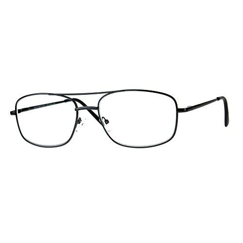 Mens Metal Rim Classic Rectangular Bifocal Reading Eye Glasses Gunmetal 1.75