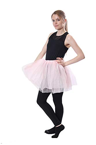 Classic Layered Princess Tutu for Holiday Costumes, Fun Runs, and Everyday Wear Over Leggings Pink -