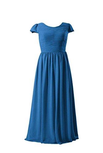 Daisyformals Longue Robe De Demoiselle D'honneur En Mousseline De Soie Robe Légère W / Mancherons (bmp760) # 37 Bleu Royal