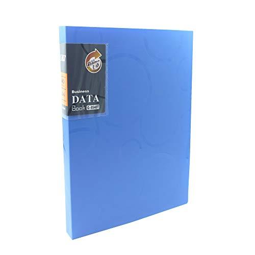 Display Book 40 Pockets A4 Size Presentation Project Folder 80 Sheet Capacity Transparent Pockets ... (Blue) ()