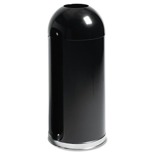 Rubbermaid® Commercial - European & Metallic Series Open Top Receptacle, Round, 15 gal, Black - Sold As 1 Each - Recessed handles for easy emptying.