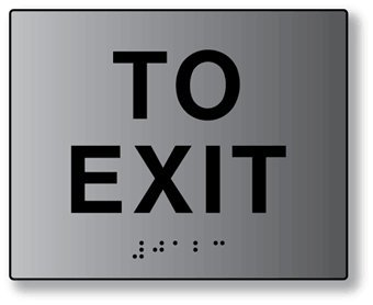 ADA Compliant To Exit Signs in Brushed Aluminum - 5x4