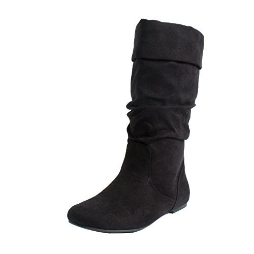 SODA Image Women's Comfortable Flat Mid Calf Boot Shoes,Color:Black,Size:8 (Lady Image)