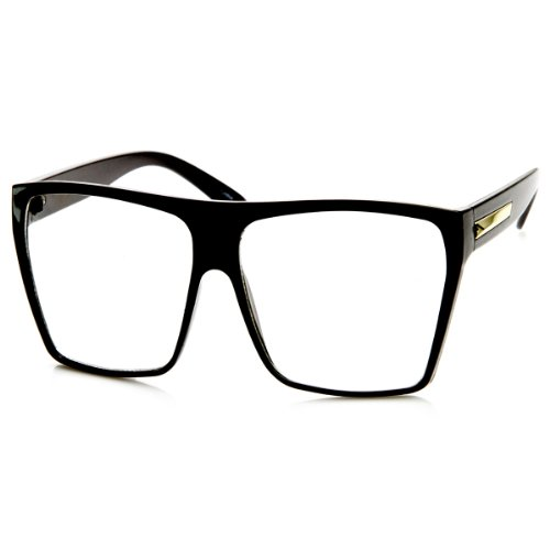 Large Oversized Retro Fashion Clear Lens Square Glasses - Black Big Frames