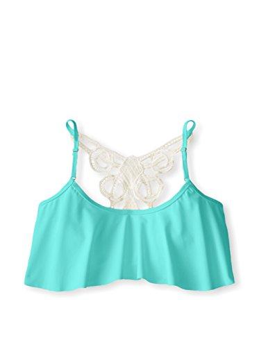 Jessica Simpson Flounce Bikini Top Women's Swimsuit Medium Cool Mint
