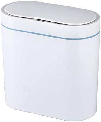 ゴミ箱 8Lスマートごみ箱ルームオフィスプラスチック自動誘導ゴミ箱 耐久性 機能性 使いやすさ (Color : White, Size : 8L)