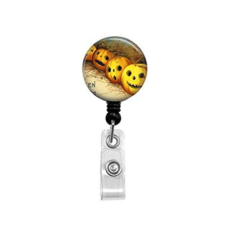 Vintage Halloween - Retractable Badge Reel - Jack-O-Lantern - Badge Holder - LPN, RN, Pediatrics, Office ID Holder, Teacher, Nurse Badge Reel -
