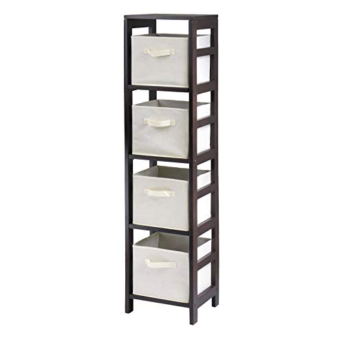 - Winsome Wood Capri Wood 4 Section Storage Shelf with 4 Beige Fabric Foldable Baskets