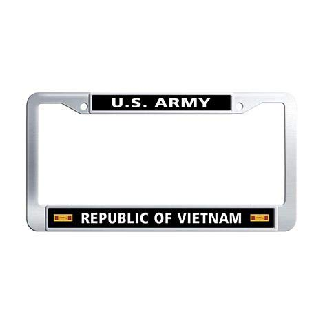 (Makoncase US Army Republic of Vietnam Gallantry Cross Unit Citation Ribbon License Plate Frame Holder,Stainless Steel Car Plate Cover Frame)