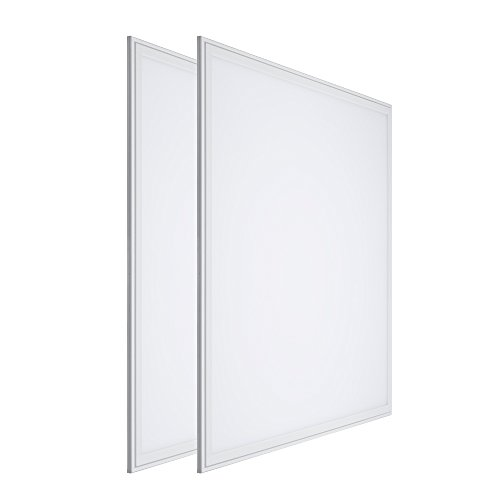 LTMATE 2x2FT 40W 5000K Cool White, Ultra thin LED Flat Panel Light, Drop Ceiling Light, Edge-Lit, 4400 Lumens, 0-10V Dimmable, White frame, No Flicker, DLC-Qualified, 2x2 5000K, 2pack ()