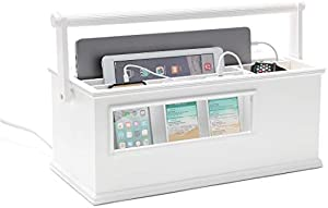 Portable Charging Station with Included 4-Port USB Power Strip and 6-Port AC Power Strip. Make Work from Home Easy and Take Your Phone, Laptops, and Tablets Anywhere! Cloud White Finish