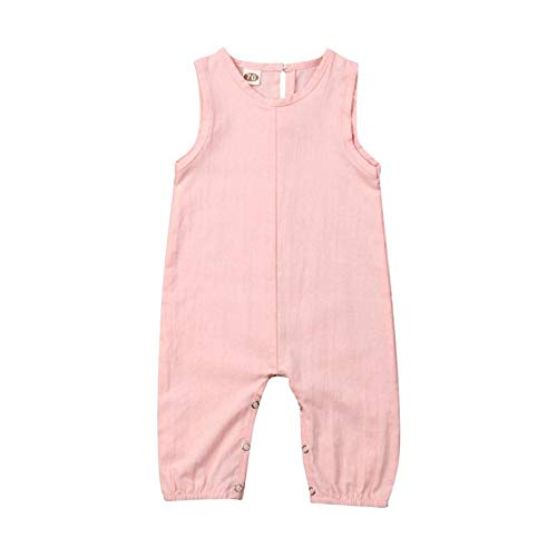 Unisex Newborn Baby Little Girls Boys Solid Color Sleeveless Footless Romper Jumpsuit Summer Trousers Clothes