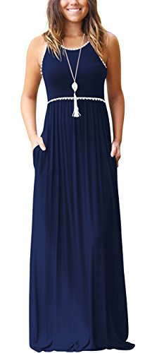WEACZZY Women's Round Neck Sleeveless Loose Plain Vacation Days Maxi Dresses Casual Long Dresses with Pockets (01 Navy Blue, Large) ()
