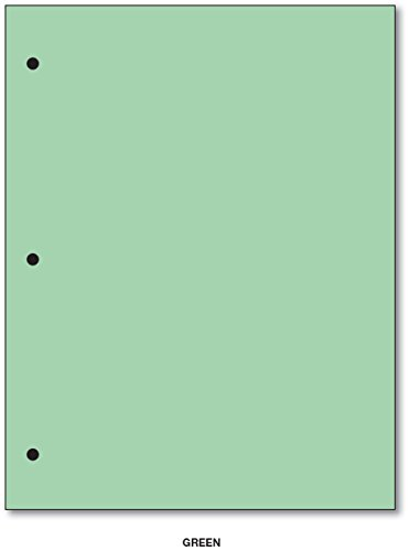 3 Hole Color Paper 8 1/2 X 11 - 100 Papers Per Pack (Green) by S Superfine Printing