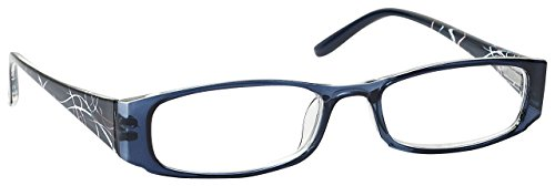 The Reading Glasses Company Navy Blue Patterned Lightweight Readers Designer Style Womens Ladies Inc Bag R74-3 - Glasses Navy Blue